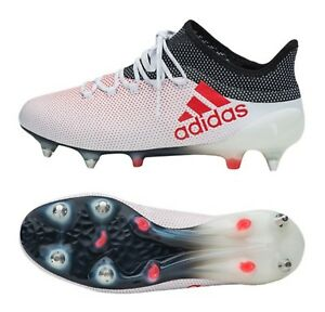 defd7b03e1 Adidas Men X 17.1 SG Cleats Soccer White Red Football Futsal Shoes ...