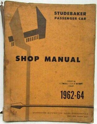 1963 1964 Studebaker Avanti Shop Service Repair Manual ...