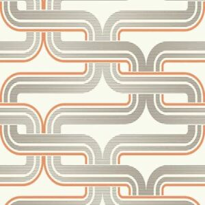 Details About Arthouse Geometric Wallpaper Retro Orange Grey Luxury Quality Pattern Spongeable
