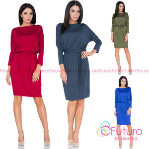 Ladies 3 4 Sleeve Semi Formal Batwing Boat Neck Knee Length Cocktail ... 3d3da4b5154a