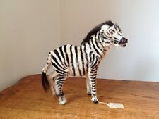 Vintage Real Hair Zebra Toy Figurine Hand Made In India
