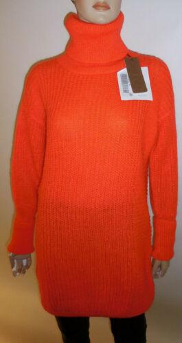 ODEON Pullover Longpullover Rollkragen neonrot orange Gr 2 SALE neu mit Etikett