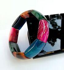 Cadeau Bracelet Agate Multicolore Lithothérapie Bijoux Pierre Minéral Naturel