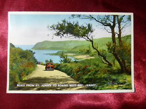 VINTAGE-POSTCARD-Road-from-St-John-039-s-to-Bonne-Nuit-Bay-Jersey-Channel-Islands