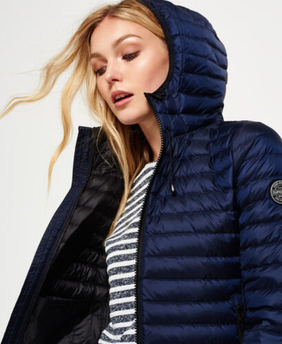 Hooded New Superdry Jacket Navy Core Womens Down awSCIwUq