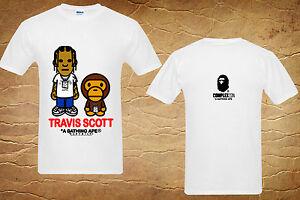 bape travis scott a bating baby milo logo short sleeve white tshirt