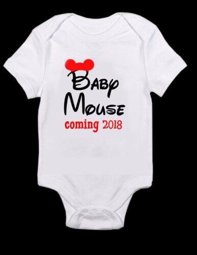 T-Shirt Mickey Mouse baby shower pregnancy announcement minnie mouse