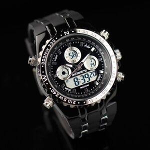 INFANTRY-Herren-Digital-Quarz-Armbanduhr-Uhr-Herrenuhr-Datum-LED-Edelstahl-Gummi
