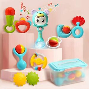 Baby-Electronic-Rattles-Shaker-Teethers-Set-with-Light-and-Music-Grab-Box