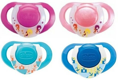 CHICCO BABY LOT 2 PCS PHYSIO RING SOOTHER SILICONE DUMMY FOR AGES 12M+