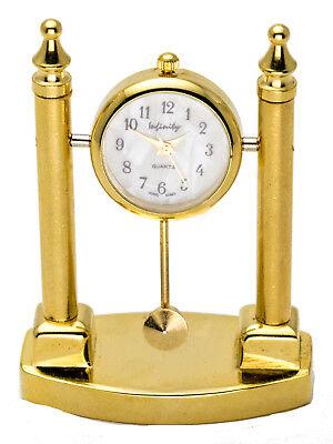 INFINITY GOLD TONE TRIANGLE MANTEL STYLE  COLLECTABLE ANALOG QUARTZ MINI-CLOCK