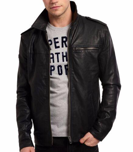Men/'s Summer Genuine Lambskin Leather Jacket Black Slim fit Biker Basic jacket