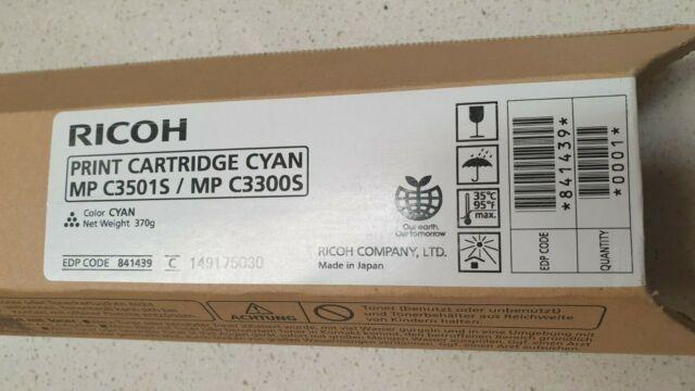 Genuine Ricoh 841439 Cyan Toner for Aficio MP C3001 C3501 C3300 New Never Used