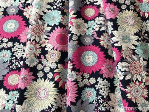 Rose /& Hubble 100/% Cotton Poplin Retro Sunflower Navy Fabric Half//full mtr /& FQ