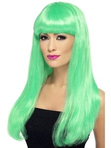 e9c8b1820ff Image is loading Womens-Girls-Green-Babelicious-Wig-Long-Straight-Fringe-