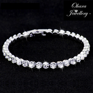 Cubic-Zirconia-Silver-Tennis-Bridal-Bridesmaid-CZ-Crystal-Bracelet-Jewellery-Uk