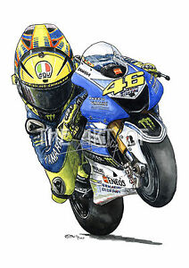 Valentino Rossi - The Doctor 2013 Yamaha YZR-M1 Cartoon by Billy fine art print | eBay