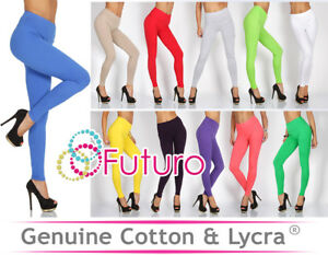 Womens Cotton High Waisted Full Length Leggings Control Panel Not See Through