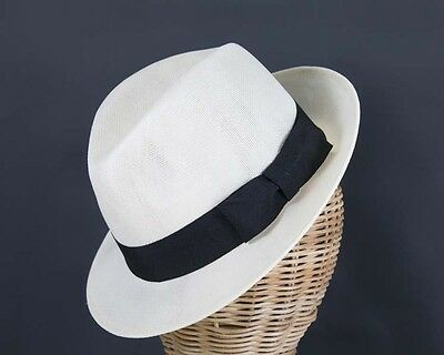 White mens summer fedora hat by Max Alexander