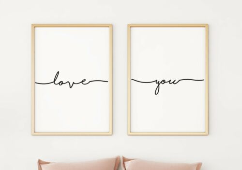Love You Set de 2 Typographie A4 affiches PO273