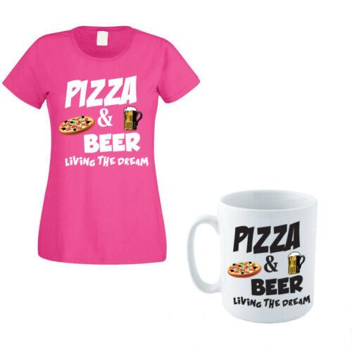ALCOOL Pizza /& beer-food Drôle Idée Cadeau T-Shirt FEMME /& TASSE set