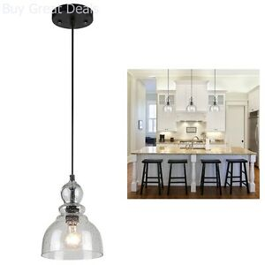 Details about 1 Industrial Pendant Light Fixture Glass Hand Blown Seeded  Kitchen Island Bronze