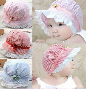 9937da3b0 Details about Pinstriped Cute Flower Baby Girls Hats Sun Caps For Summer  Choice of colours