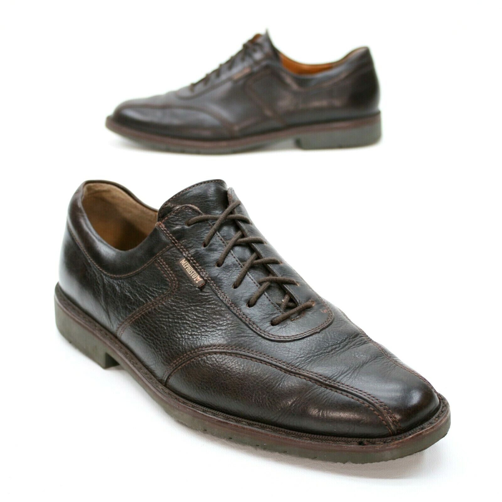 Mephisto Men's 10 Brown Leather Oxfords Bike Toe Lace Up Dress Caoutchouc Soles