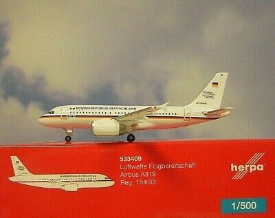 Herpa 533409-1//500 Luftwaffe Flugbereitschaft Airbus A319 Neu