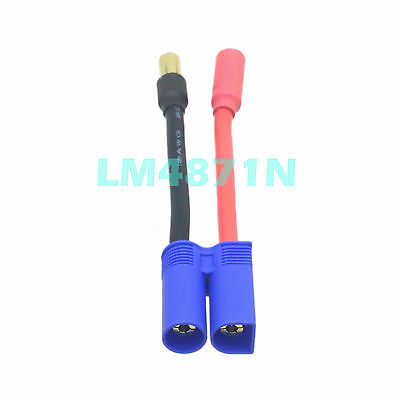 No Wires Connector ESC HV 5.5MM HXT Female to EC5 Male Bullets Fr Turnigy  Zippy