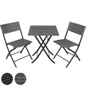 Détails sur Salon de jardin 2 personnes mobilier chaises et table pliante  en résine tressée
