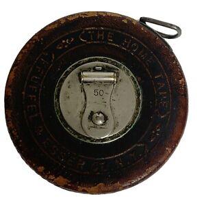 Vtg-Keuffel-amp-Esser-K-amp-E-Leather-Case-50ft-Tape-Measure-Rule-The-Home-Tape-USA