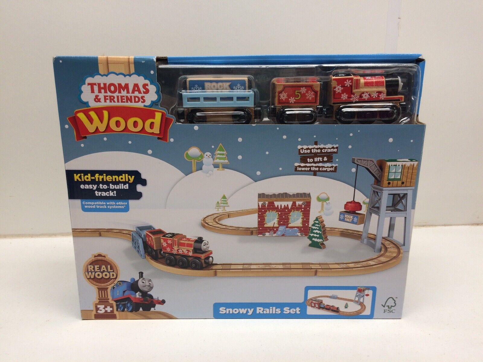 New Real Wood Thomas & Friends Snowy Rails Set  NIP