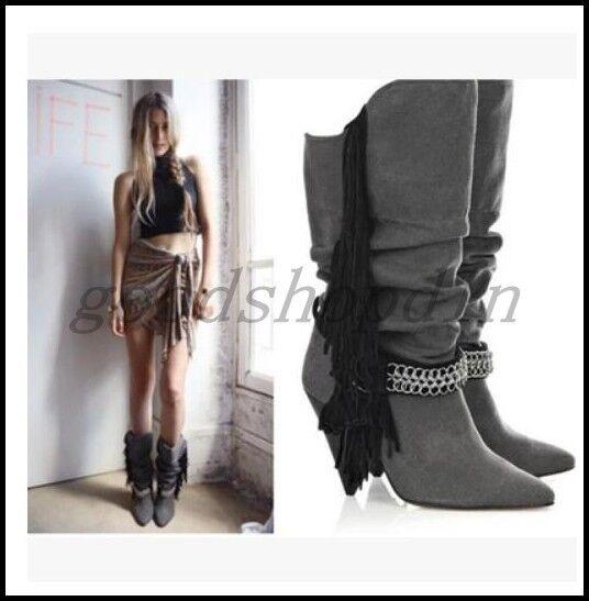 vendita di offerte donna Suede Leather Slouch Tassels Knee Knee Knee High stivali Metal Chain Cone Heel scarpe  più sconto