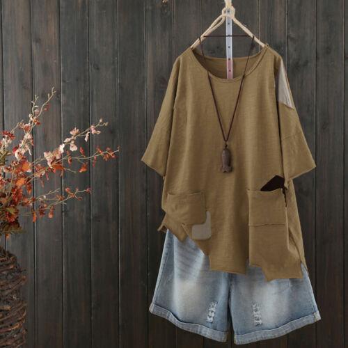 Damen 3//4 Arm Shirt Bluse Hemd Vintage Freizeit Lose Retro Rundhals Top Tunika