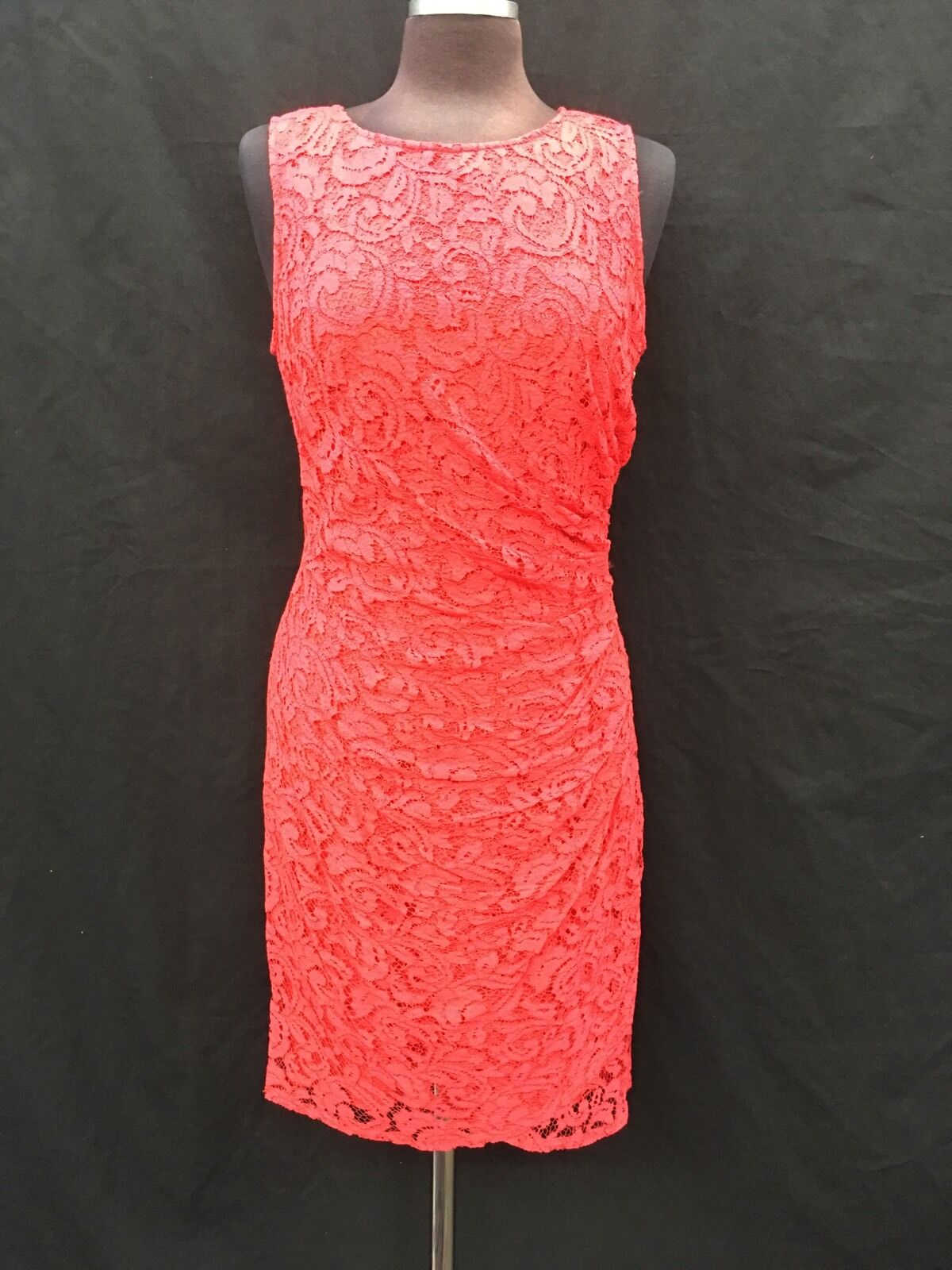 ADRIANNA PAPELL DRESS RED LACE DRESS RETAIL SIZE12 LENGTH 41