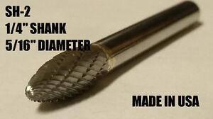 "SH2S Flame Shape Tungsten Carbide Burr Bur Cutting Tool Die Grinder Bit 1//4/"" NEW"