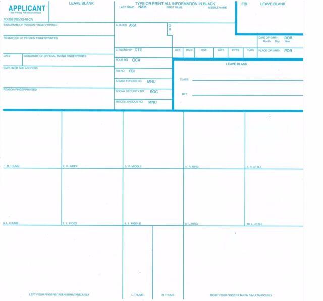 10 Fd 258 Fbi Fingerprint Cards Applicant Background Ebay