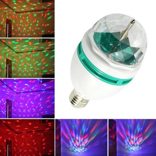 RGB 3W E27 LED Crystal Magic Ball Bulb Disco DJ Laser Stage Light Projector Lamp