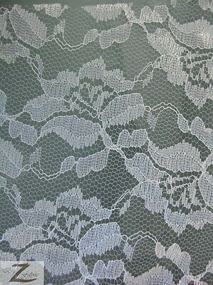 "ROSE/FLOWER FLORAL LACE FABRIC - White - 54""  WIDTH ORGANZA MESH"