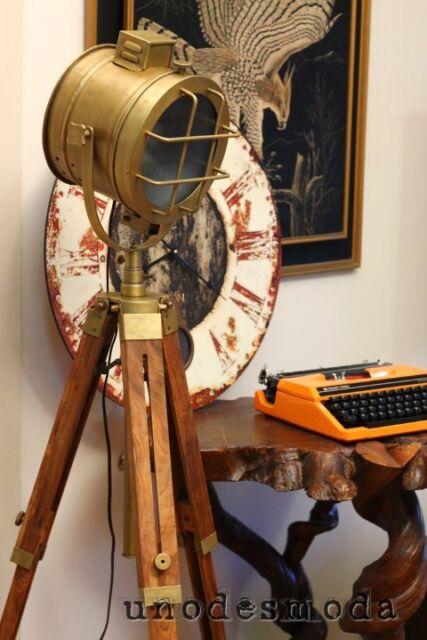 TRIPOD FLOOR LAMP Table Spot Light Teak Brass Copper vintage industrial Art Mod