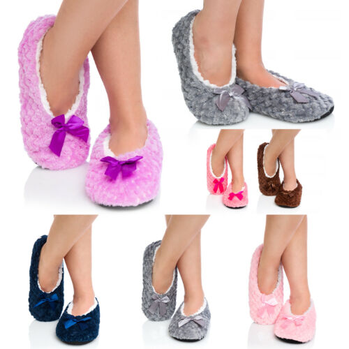 Womens Winter Anti Slipping Slippers Warm Cosy Indoor Plush Fur Lined Shoes YW19