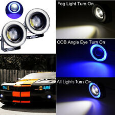 "2x 10W High Power 3.5"" Projector LED Fog Light COB Blue Angel Eyes For TOYOTA"