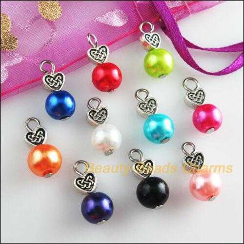 10Pcs Heart Tibetan Silver Tone Mixed Round Glass Beads Charms Pendants 8x18mm