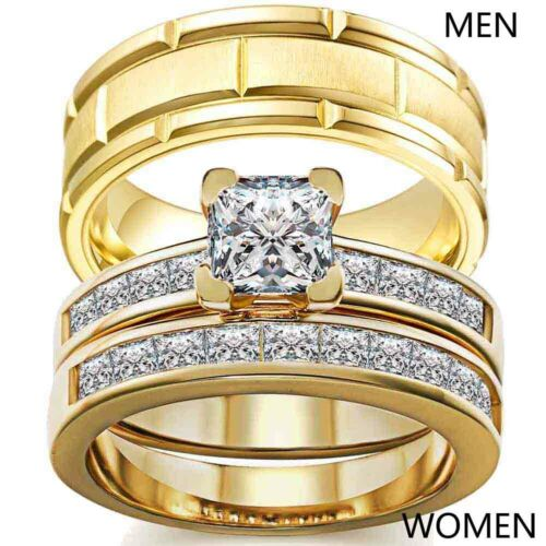 2 Rings Couple Rings Yellow Gold Titanium Steel Mens Ring CZ Womens Ring Sets