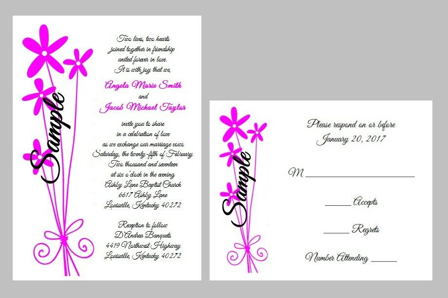 100 Personalized Long Stem Floral Bridal Wedding Invitations Set RSVP Cards
