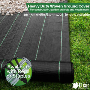 1m Wide Woven Ground Cover, Landscape Fabric, Weed Membrane + Pegs or Staples