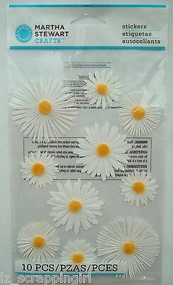 DAISY GLOSSARY Stickers MARTHA STEWART CRAFTS; White Yellow Daisies, Spring