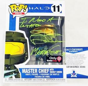STEVE-DOWNES-MASTER-CHIEF-SIGNED-GAME-STOP-FUNKO-POP-HALO-BAS-COA-351