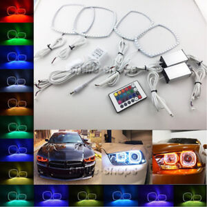 For-11-14-Dodge-Charger-Multi-Color-Changing-Shift-LED-RGB-Headlight-Halo-Ring
